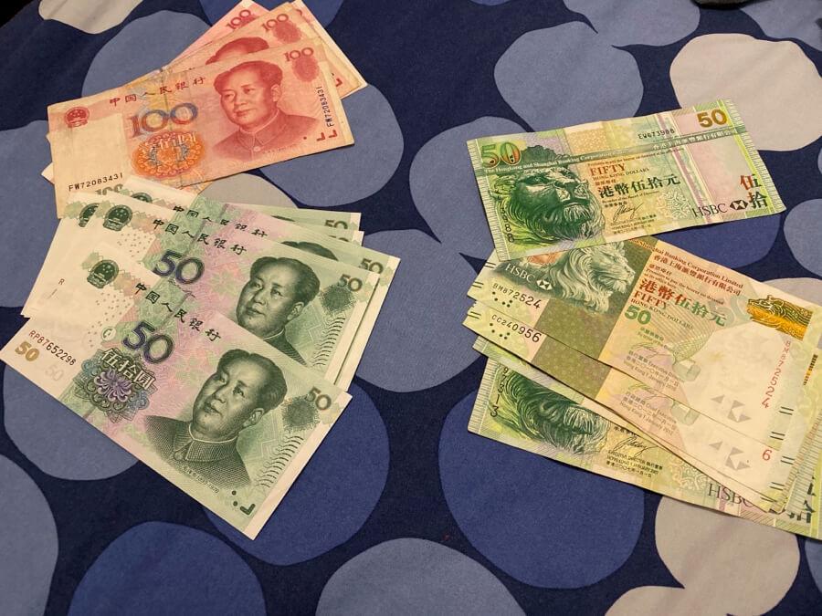Dolares de Hong Kong y Yuans de China
