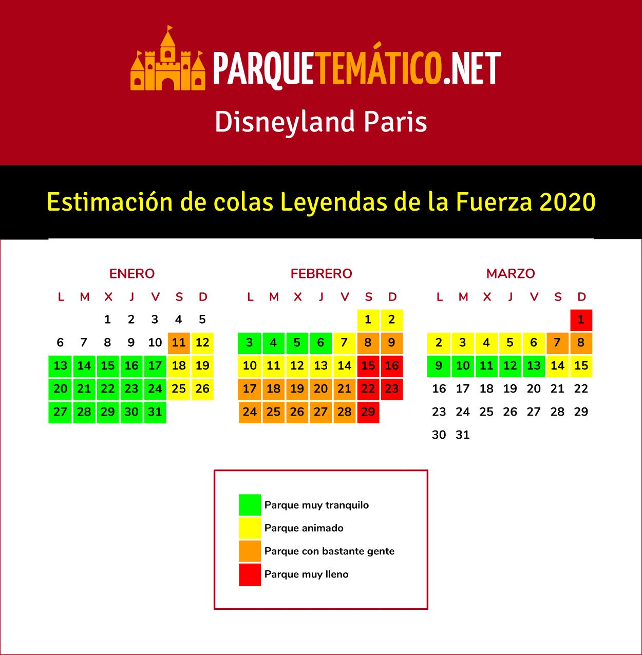 Calendario de Colas Leyendas de la Fuerza 2020
