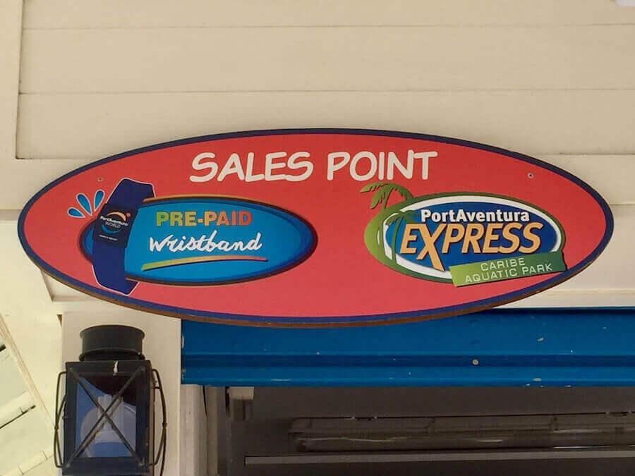Cartel Oficina de venta de PortAventura Express en Caribe Aquatic Park
