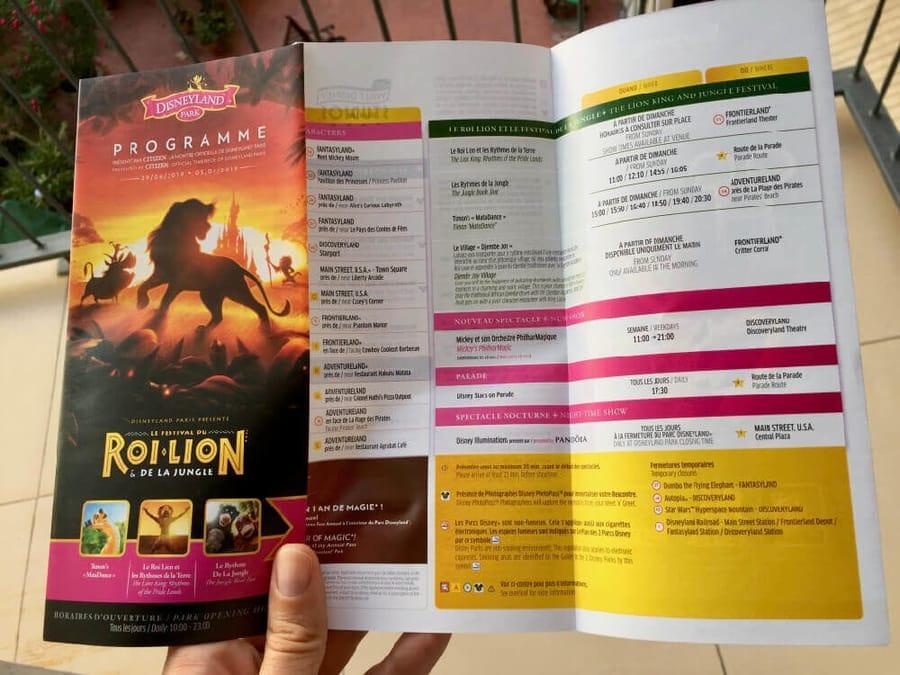 Programa del Festival del Rey León y de la Selva en Disneyland Paris