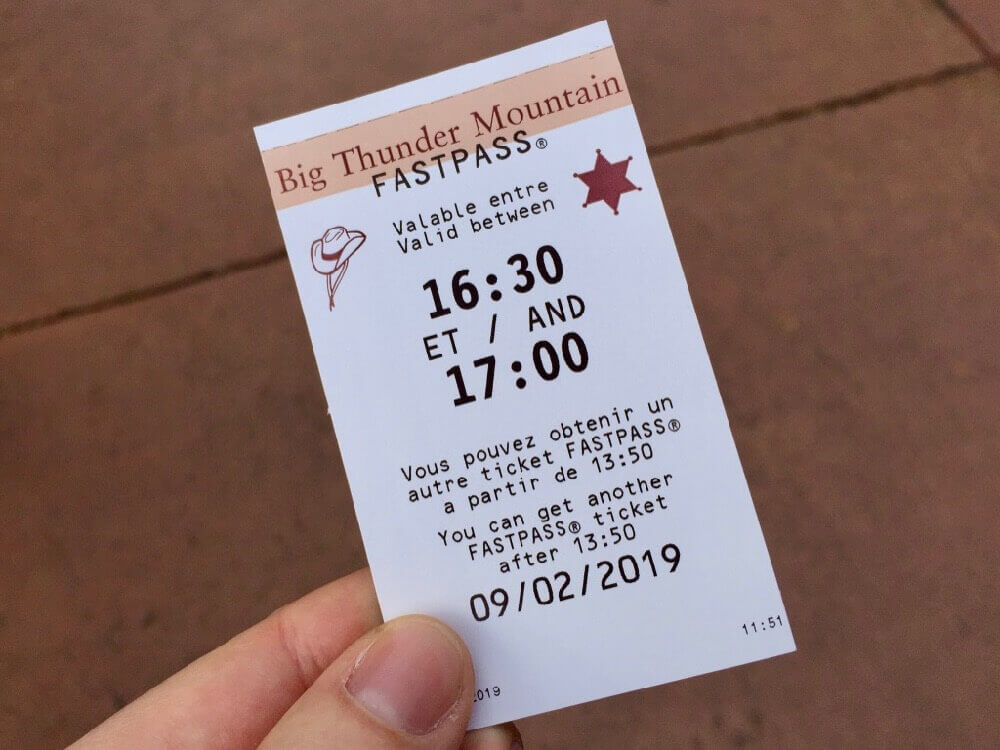 Ticket FASTPASS para Big Thunder Mountain en Disneyland Paris