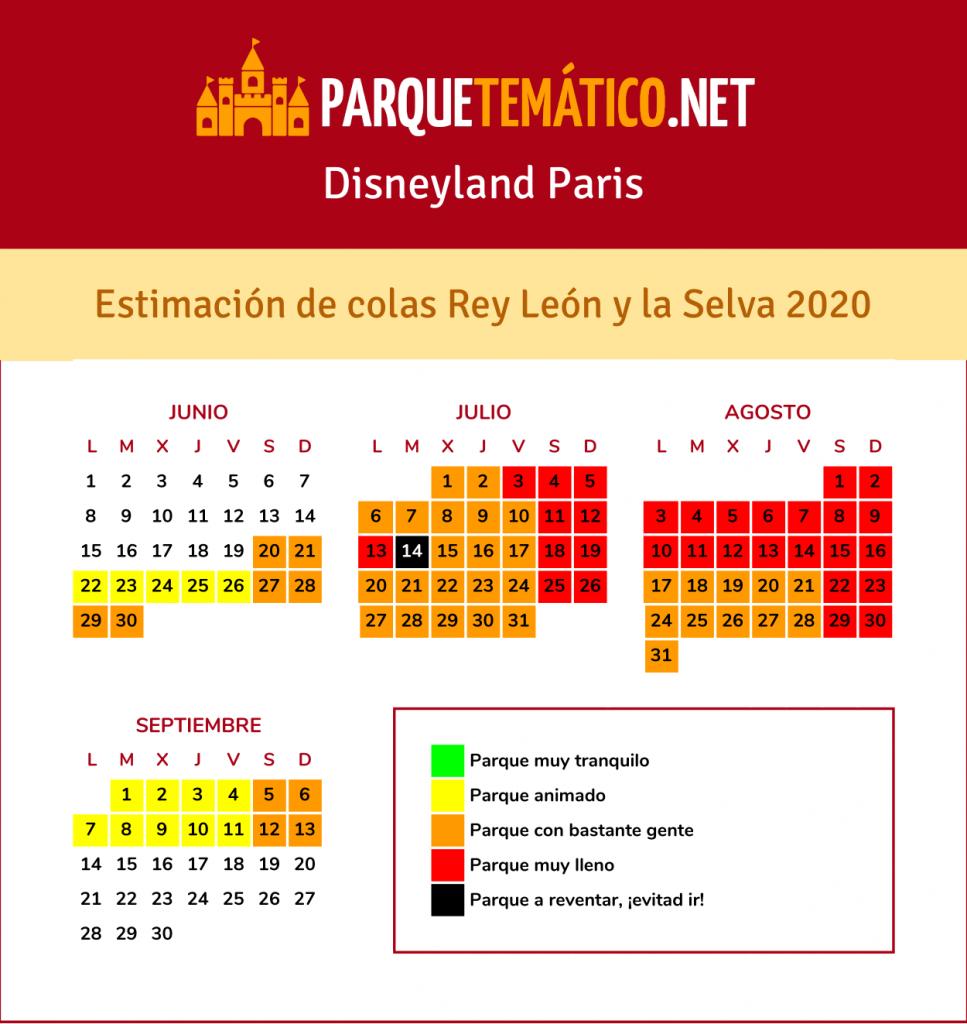 Calendario de Afluencia Temporada del Rey León y de la Selva Disneyland Paris 2020