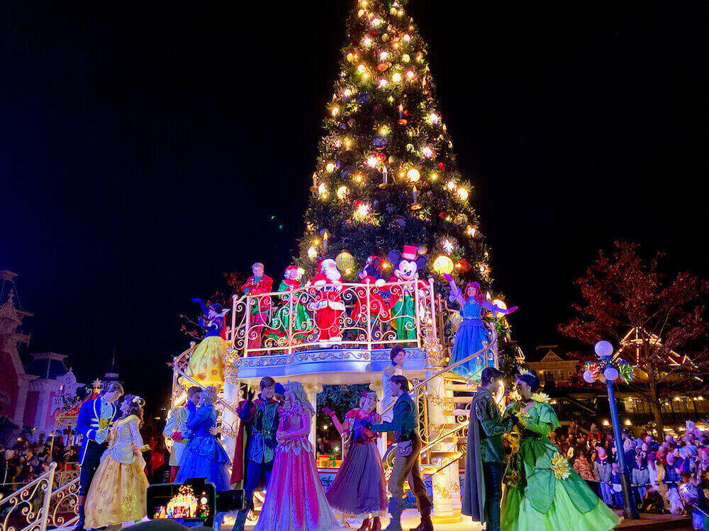 Disneyland Paris Navidad encendido del árbol en Main Street