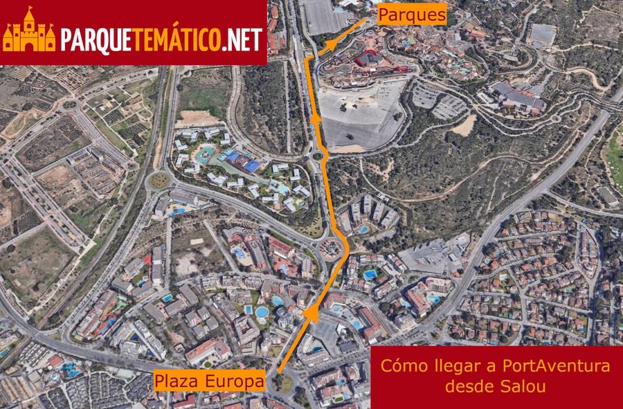 Mapa de cómo llegar desde Salou a PortAventura