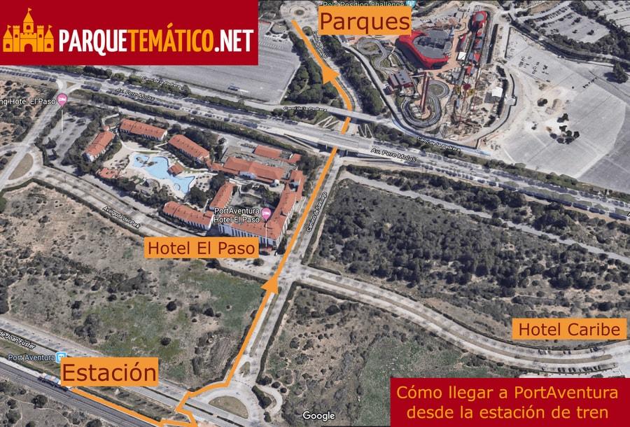 Mapa mostrando la ruta a recorrer para llegar desde la estación de tren de PortAventura hasta los parques y los hoteles