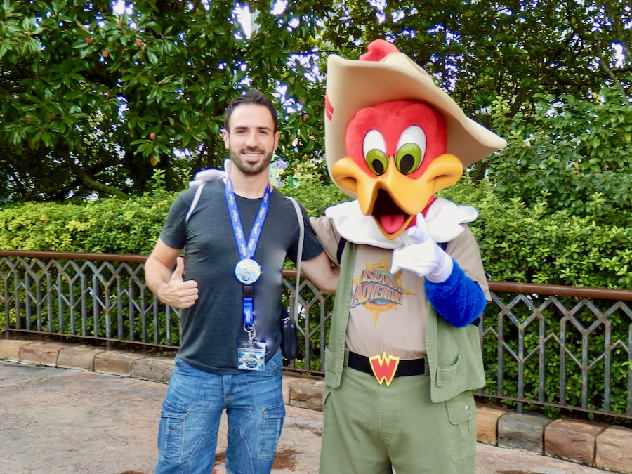 Foto con Woody Woodpecker, el Pájaro Loco, en Islands of Adventure