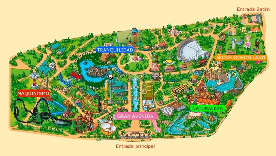 Mapa con zonas del Parque de Atracciones de Madrid