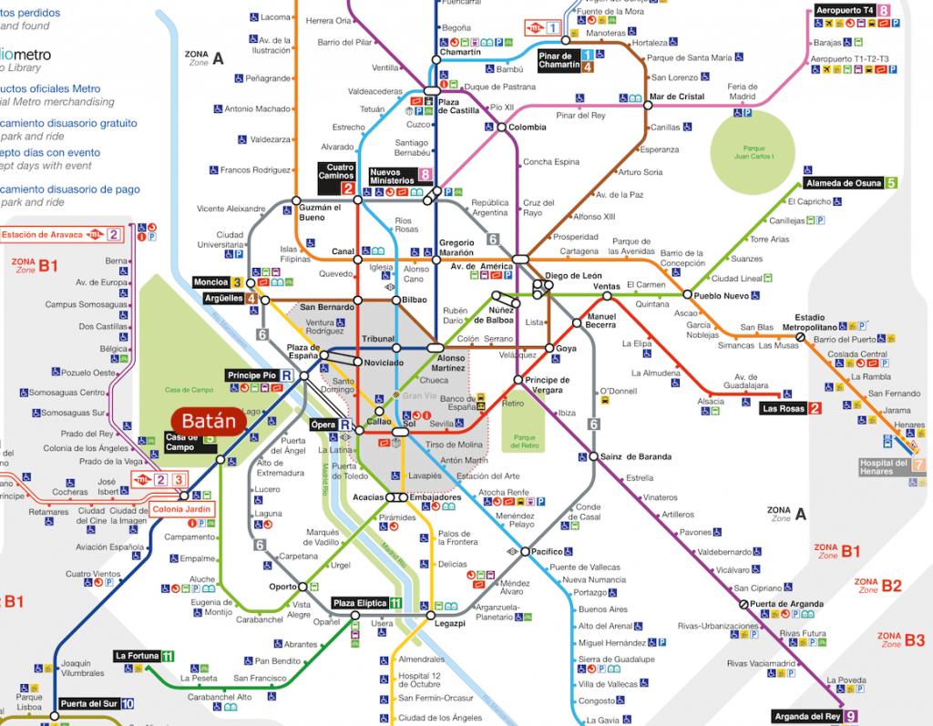 Plano del Metro de Madrid con parada del Parque de Atracciones