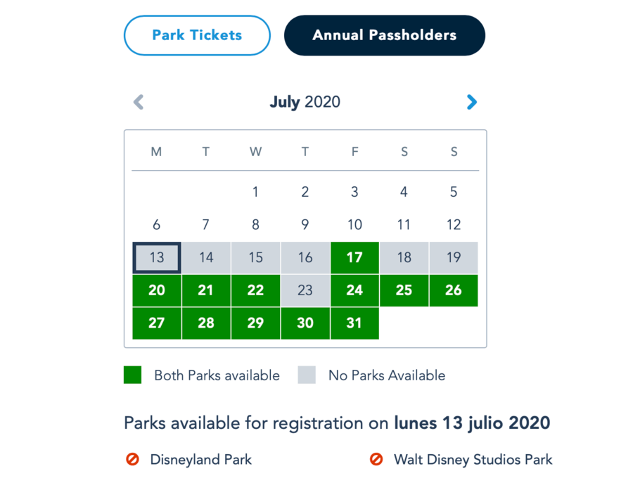 Calendario de Disponibilidad de reservas de día en Disneyland Paris