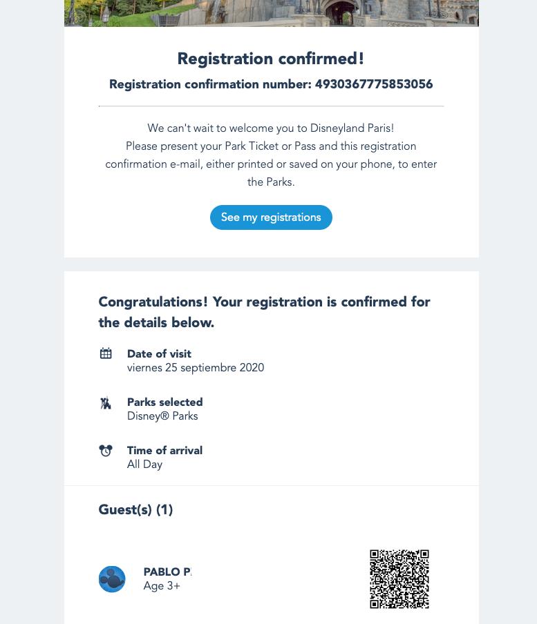 Pasos de reserva de día - Email Confirmación