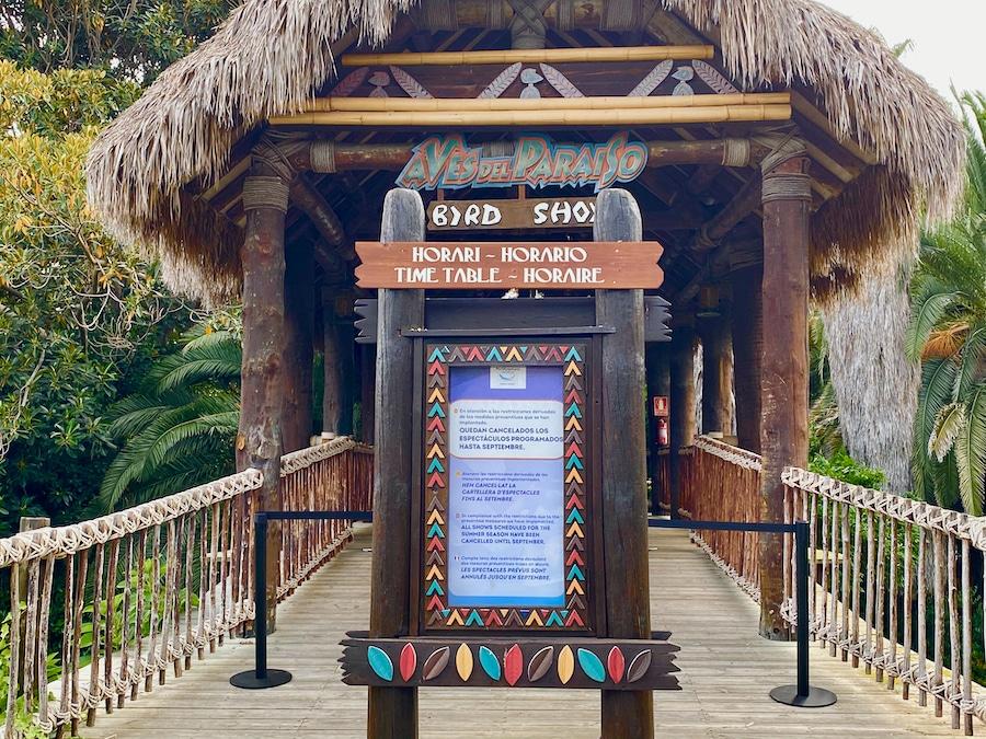 PortAventura entrada del espectáculo Aves del Paraíso cerrado 2020