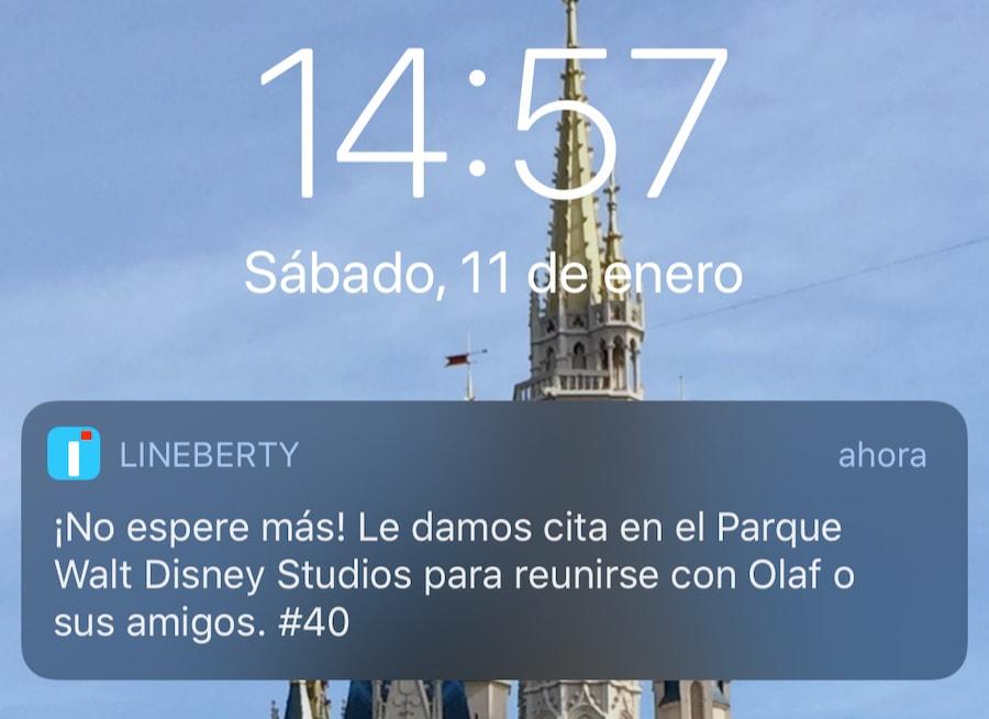 Lineberty en Disneyland Paris - notificación hora de reserva