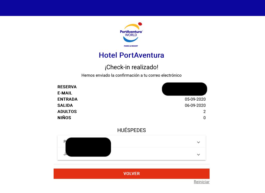 Checkin online en hoteles de PortAventura - pantalla de confirmación