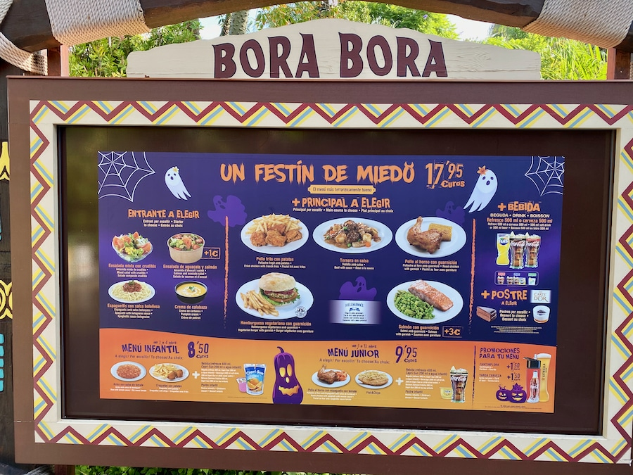 Menu de Restaurante Bora Bora en Halloween de PortAventura 2020