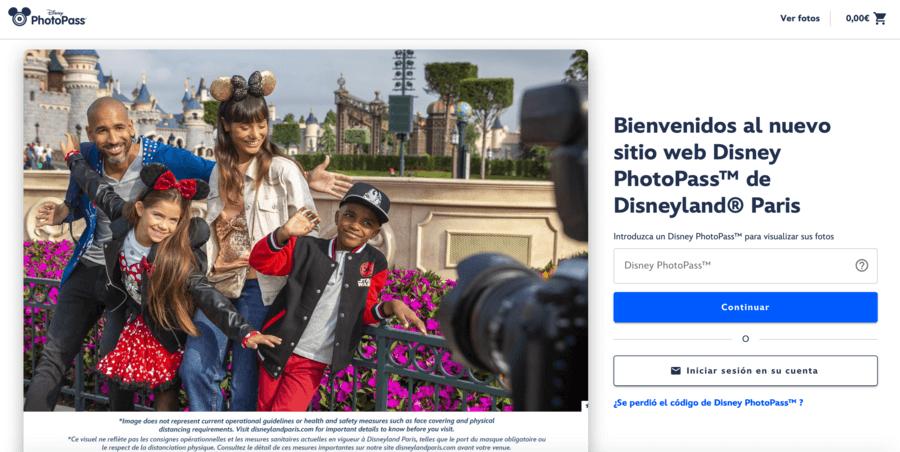 Página web del Disney PhotoPass de Disneyland Paris