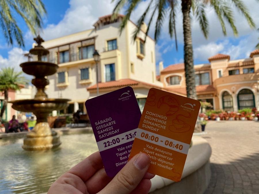 Vales de desayuno y cena del Hotel PortAventura de PortAventura World