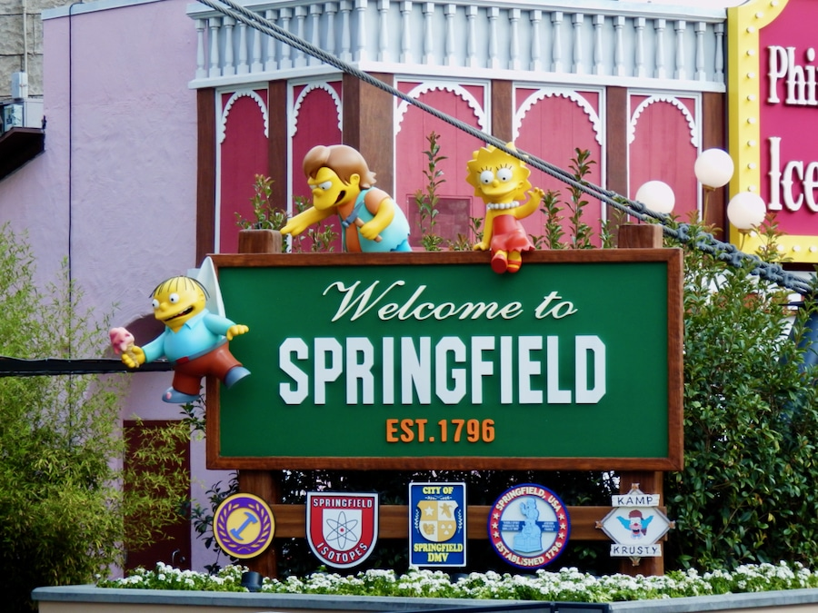 Cartel de entrada a Springfield de la zona de Los Simpsons en Universal Studios Hollywood