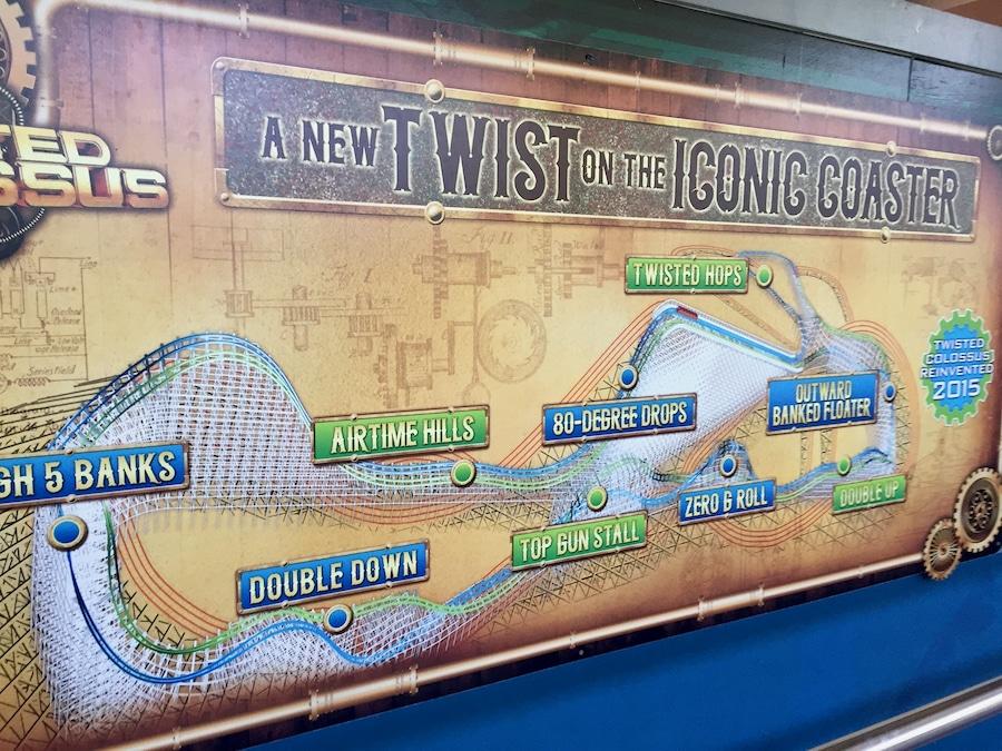Cartel de la montaña rusa híbrida Twisted Colossus de Six Flags Magic Mountain
