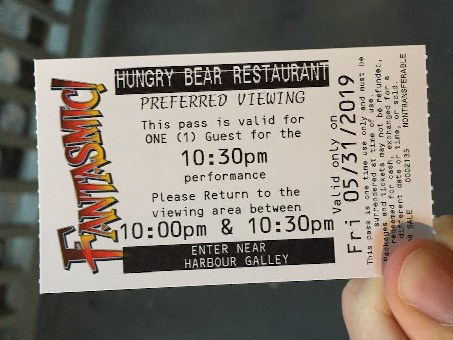 FASTPASS para el espectáculo Fantasmic de Disneyland en California