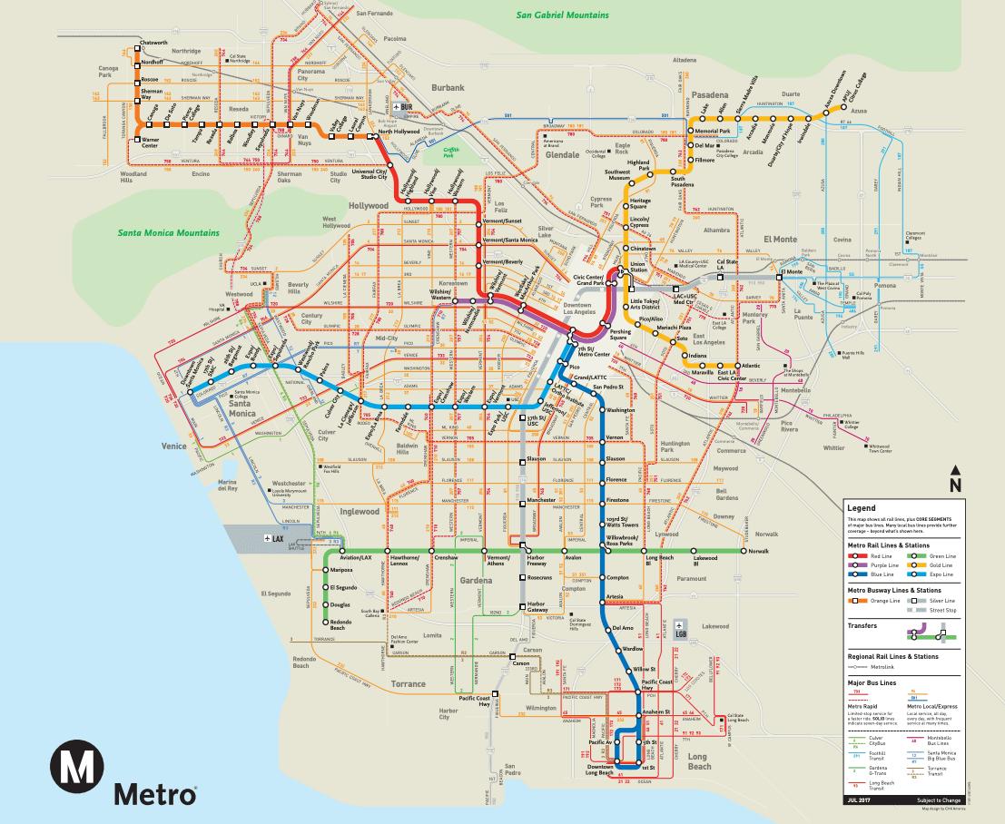 Mapa del metro de Los Ángeles en California
