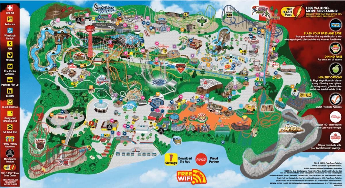 Mapa del parque Six Flags Magic Mountain en California