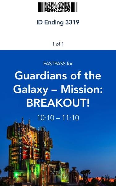 MaxPass para Guardians of the Galaxy Mission Breakout de Disney California Adventure