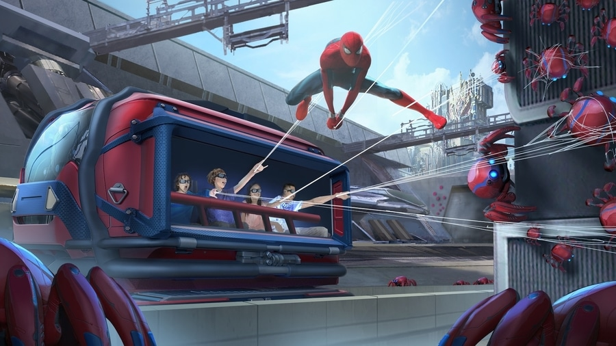 Diseño de la atracción de Spider-Man en el área Marvel Avengers Campus de Walt Disney Studios en Disneyland Paris