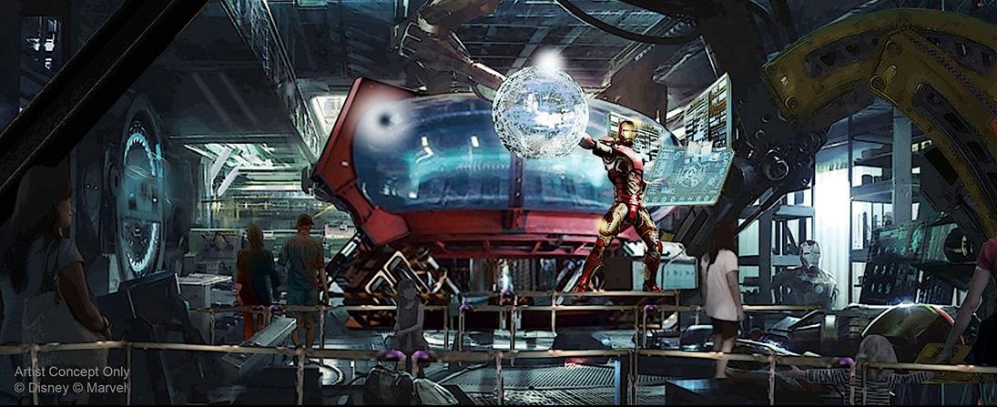 Diseño de las colas de la atracción de Iron Man en Avengers Campus de Disneyland Paris
