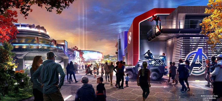 Diseño del area de Marvel Avengers Campus en Walt Disney Studios de Disneyland Paris