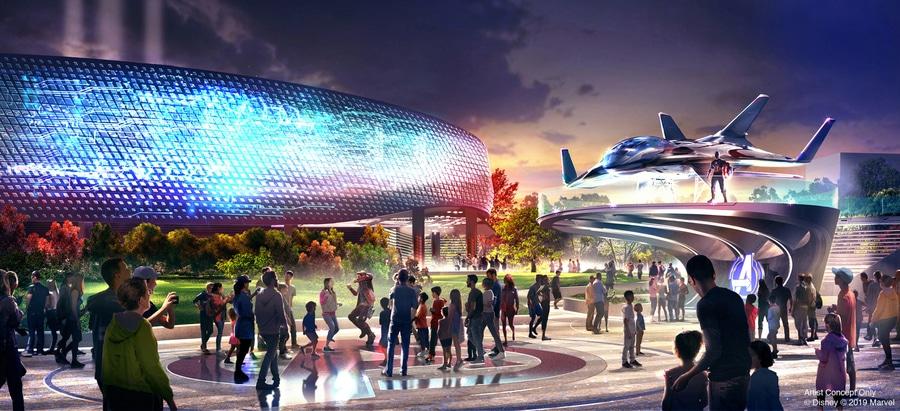 Diseño del exterior de la montaña rusa de Iron Man en el área Marvel Avengers Campus de Disneyland Paris Walt Disney Studios
