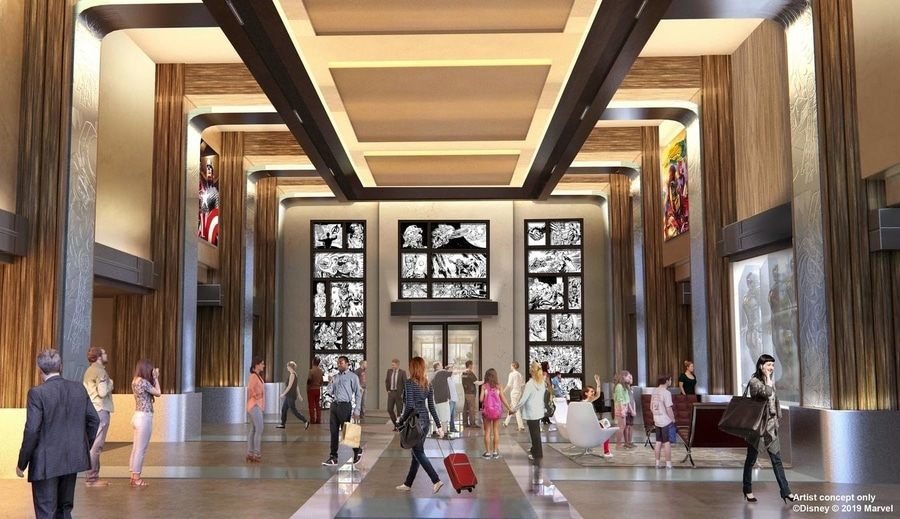 Diseño del nuevo Lobby del Hotel New York The Art of Marvel en Disneyland Paris