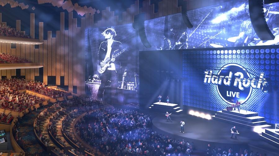 Teatro Hard Rock Live de Hollywood Florida similar al que habrá en el Entertainment World de PortAventura