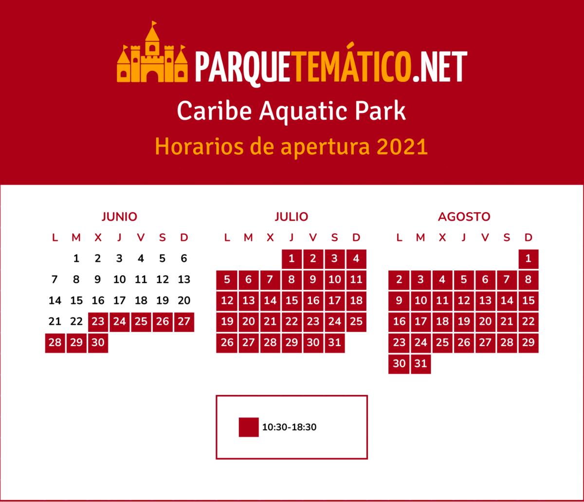 Calendario de apertura Caribe Aquatic Park 2021