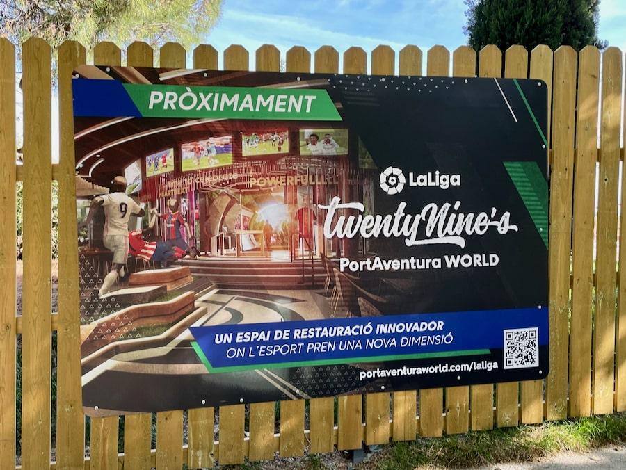 Cartel Restaurante de LaLiga TwentyNines en PortAventura