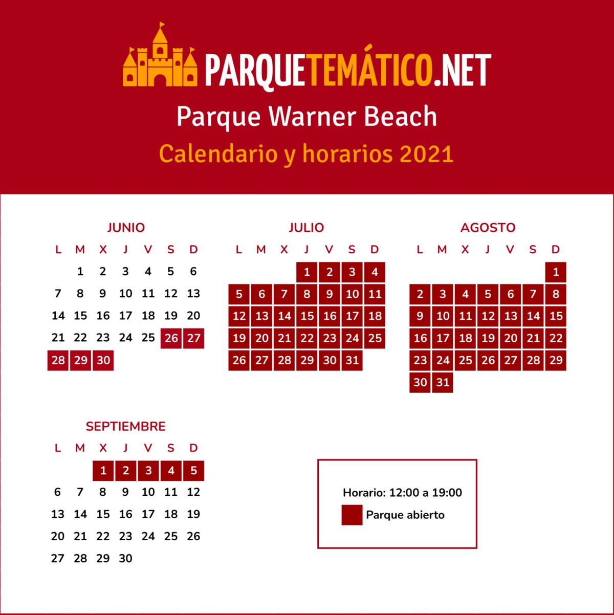 Calendario Parque Warner Beach 2021 v3