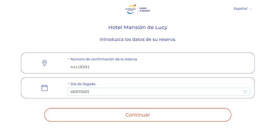 Checkin online en hoteles de PortAventura - paso 3