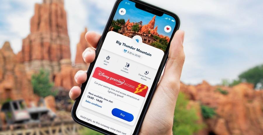 Pantalla de selección del Disney Premier Access en la app de Disneyland Paris